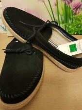 MARK AND SPENCERS MEN'S CASUAL NAVY SUEDE SHOES SIZE 11 WITH TAGS.