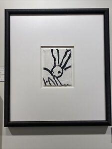 """Hunt Slonem """"Bunny"""" Custom Framed Black and White"""