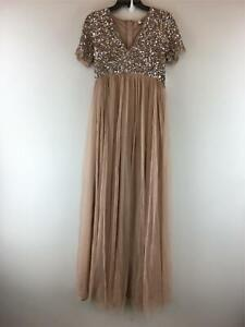 Women's Maya Deluxe Sequin Tulle Bridesmaid Maternity Dress, Size 8 -Taupe Blush