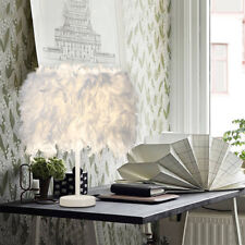White Feather Table Lamp Metal Vintage Elegant Bedside Night LIGHT Desk Decor