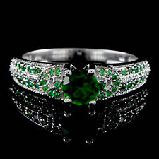 Emerald Solitaire With Accent Wedding Ring 14k Gold Over Sterling Silver