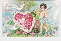 ANTIQUE VINTAGE VALENTINE POSTCARD HEARTS CUPID ANGEL DOVES WATERING FLOWERS EMB