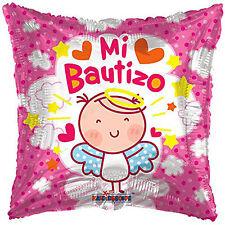 """Baptism """" Mi Bautizo """" Spanish Foil/Mylar Balloons ( 3 Balloons ) 18"""" - Pink"""
