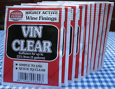 10 Harris Vin Clear Wine Finings Sachets Homebrew Fining Clearing Yeast Vinclear