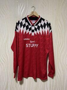 ADIDAS 90s FOOTBALL SHIRT SOCCER JERSEY LONG SLEEVE RED ADIDAS VINTAGE RARE sz X
