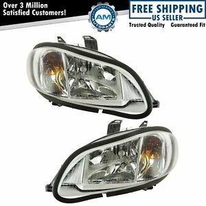 Headlights Headlamps Left & Right Pair Set for 03-18 Freightliner M-2