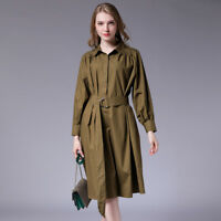Autumn womens plus size dresses high waist casual Elegant dress Sashes size12-28
