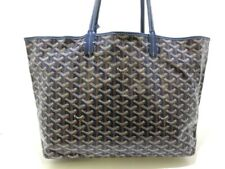 Auth GOYARD Saint Louis PM Navy Brown White Coated Canvas Leather Tote Bag
