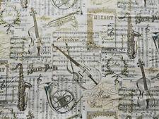 Musik 20 cm X 112 cm Baumwolle Glitzer Gold Cello  Mozart Noten Klarinette Geige
