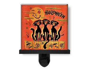 Cute Vintage Style Halloween Black Cats Singing Moon Glass Photo Night Light