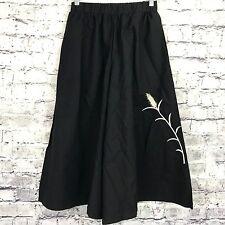 PopJulia Womens XL Linen Gaucho Capri Pants Cotton Blend Embroidered Black NWT