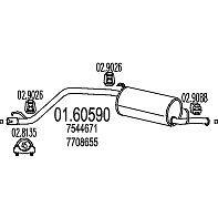 MARMITTA POSTERIORE COMPLETA +2 GOMMINI FIAT PANDA 750 900 1.0 1.1 t.t