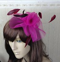 cerise pink feather hair headband fascinator millinery wedding hat ascot race