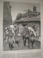 Revolution in East Roumelia Bulgaria Turks leaving a village 1885 old print