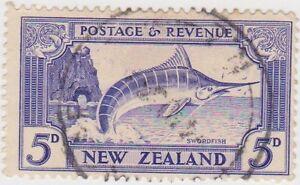 Stamp(NZB19) 1935 NZ 5d Blue Swordfish ow584c