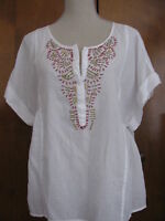 New Calvin Klein Jeans women's white soft cotton beads decorated top Size PLarge