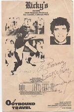 Old Rickey's Sports Bar Advertising Flier w/ Raider Mark Van Eagan Autograph
