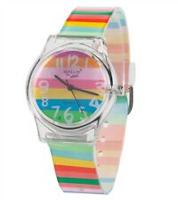 Lady Girl Children Rainbow Colorful Stripe PU Wrist band Watch Gift for her