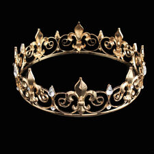 Prom Gold King Crystal Royal Crown Men's Rhinestone Fleur De Lis Tiara Headband
