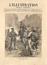 Bulgarie Guerre des Balkans Avant Poste Bulgare Douaniers Douane GRAVURE 1885