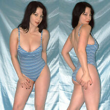 blau gestreifter BODY* S 70B * Bügel BADEANZUG stretchig* Gymnastikanzug