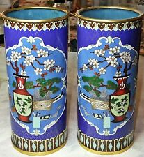 Pair of  Antique cloisonné vases / brush pots early  People's Republic of China.