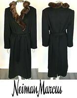 Neimen Marcus Black Cashmere Wool Mink Fur Collar Belted Jacket Coat Size M-L