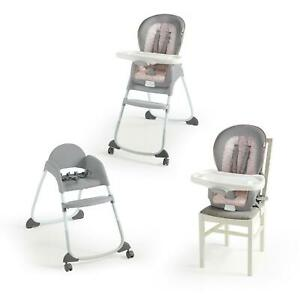 3-in-1 High Chair Convertible Booster Toddler Seat 5-Point Harnesses Feeding