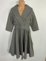 WOMENS DOLLY&DOTTY BLACK/WHITE GINGHAM 50'S VINTAGE ROCKABILLY SWING DRESS UK 10