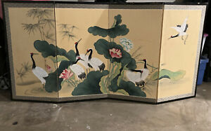 Very Large Japanese Cranes on Silk 4 Panel Folding Screen
