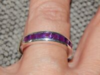 AMETHYST HALF ETERNITY/STACKABLE RING-SIZE S-1.250CTS-STERLING SILVER 925