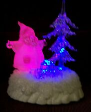 "ACRYLIC 7 1/2"" SANTA, EVERGREEN TREE & PACKAGES WITH COLOR CHANGING LIGHTS!!"