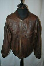 Vintage brown leather bomber biker jacket elastic waist & cuffs size XXL