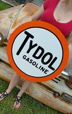 """Antique Vintage Old Look Tydol Gasoline Sign Porcelain Look 24"""" Awesome!"""