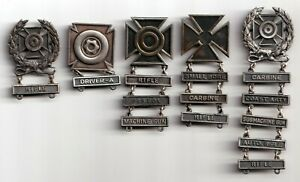 (5) U.S. World War II Army Qualification Badges with Bars – Sterling