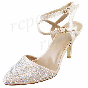 New women's shoes evening rhinestones buckle closure high heel wedding Champagne