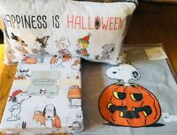 Pottery Barn Kids Peanuts Snoopy Sheet Set Full Happiness Is Halloween Pillow