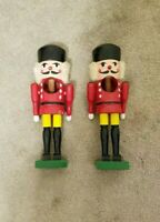VINTAGE SET OF TWO 1960'S WOODEN HAND MADE NUT CRACKER SOLDIER'S. 10 INCHES HIGH