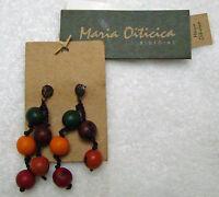 Maria Oiticica Earrings Brazilian Inaja Seed Organic Dangle Pierced