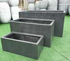 Outdoor Garden Patio Pot Planter Box Rectangle Trough Modstone Grey