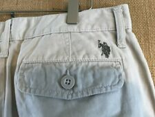 "U.S. Polo ASSN. men's solid flat front short ivory size 32 x 10"" cotton zip fly"