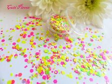 Nail Art Chunky *StreaMers*  Neon Dots Hexagons Shapes Glitter Spangle Mix Pot