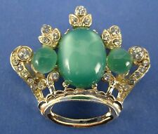 Crown Fashion Pin Brooch with Green Stones and Crystals