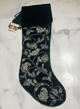 Sudha Pennathur Bergdorf Goodman Green Velvet Beaded Crystal Christmas Stocking