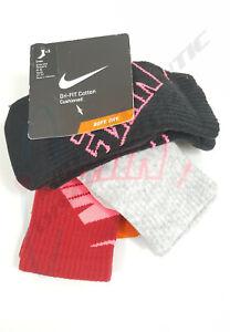 Nike Dri Fit Cotton Cushioned Crew Socks 3 Pr Women's 4-6 Youth 3Y-5Y SX4689-939