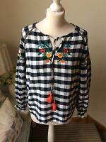 TU Navy White Check Gingham Smock Long Top Long Sleeve Size 10 Peasant Nordic