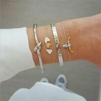 4Pcs/Set Fashion Women Heart Knot Simple Adjustable Open Bangle Bracelet Jewelry