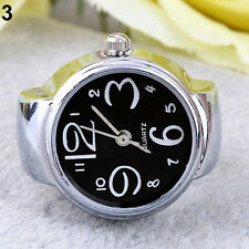 Creative Fashion Lady Girl Steel Round Elastic Quartz Finger Ring Watch Handy aa