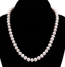 """New Natural White 8-9mm Real Cultured Freshwater Pearl Necklace 18"""""""