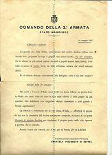 1a guerra-Lettera ai soldati e agli ufficiali ..comandante della 3a ARMATA-1917